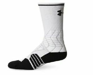 Under Armour Football Crew Socks, Size L, Youth Shoe 1-4, Black / White L2