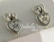 LOVE LOCKS Authentic PANDORA Silver Heart PADLOCK Stud EARRINGS 296575 w POUCH!