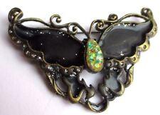 broche bijou rétro papillon émail noir cabochon paillette couleur bronze 2350