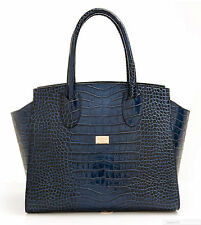 Italian Luxury 100% Finest Croco Leather Womwns  Bag In Blue Size 36x26x17