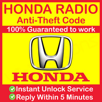 HONDA RADIO CODE CR-Z Insight Legend NSX Pilot City CRV Civic City Jazz Accord