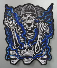 """SOLDIER SKULL BACK PATCH (Blue/Silver) 25cm x 29cm (10"""" x 11.5"""") approx Sew on"""