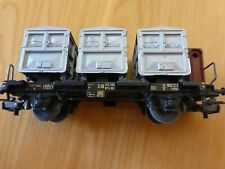Marklin - Vintage Container Car Wagon + 3 Containers - Used Condition - HO Gauge