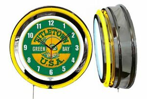 """Green Gay Packers Title Town 19"""" Yellow Neon Clock Man Cave Game Room  Football"""