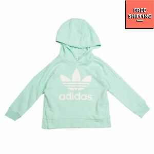 ADIDAS Hoodie Size 6-7Y Two Tone Coated Logo Popper Sides Long Sleeve