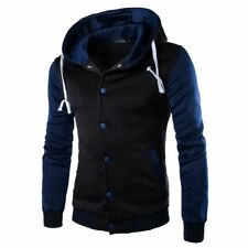 Men's Hoodie Outwear Sweater Coat Baseball Jacket Hooded Navy Blue gf4