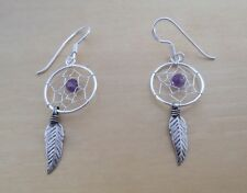 Amethyst Stone, Feather, Spider Web Dream Catcher Earrings, 925 Sterling Silver