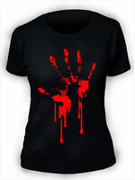 Bloody Hand Print T-Shirt Ladies Womens Zombie Horror Blood goth rock punk