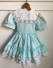 Vintage Marthas Miniatures Party Dress Size 6 Mint Blue Green Ruffle Lace