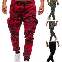 Men's Camouflage Camo Cargo Army Pants Harem Joggers Sport Sweatpants Trousers