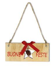 Set 2 dietrporta in legno buone feste con pigna 16 x 7 cm decorazioni natalizie
