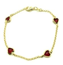 "14K GOLD PLATED RED  HEART  BRACELET 7.5"" FOR LOVE /PULSERA DE CORAZON 7.5"""