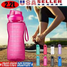 Drink Bottle Motivational Water Bottle Half Gallon Jug with Straw &Time Marker