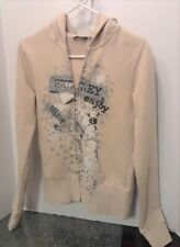 Women's size S Tan Zip up Hoodie Jacket says Believe by Hurley j286