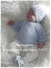 HONEYDROPDESIGNS * MOONSTONE * PAPER KNITTING PATTERN * 0-6 MONTHS approx.