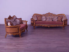 2Pc Luxury Sofa Set Mahogany Wood Solid Upholstered Wooden Sofa & Loveseat Red