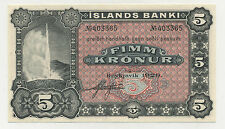 Iceland 5 Kronur 1920 Pick 15.r UNC Uncirculated Banknote Sign 1