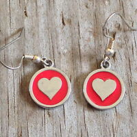 Red Heart Imitation Rhodium Plated Enameled Earrings