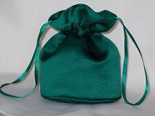 Dark green/bottle green satin dolly bag for bridesmaid/evening wear/prom
