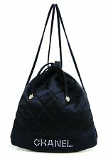 Chanel France Navy Blue Quilted Satin Small Drawstring Backpack Bag