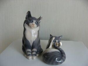 2 x alte Porzellanfiguren * Katzenfiguren * Royal Copenhagen - Entwurf A.Nielsen