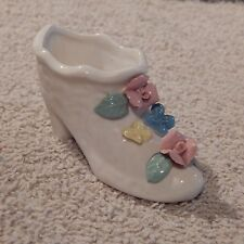 Vintage Small Decorative Ceramic Shoe With Flowers, Pink Roses