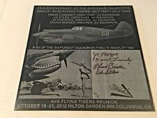 Flying Tigers/AVG 72nd Anniv. Laser Etched Granite Plaque Signed by 3rd Squadron