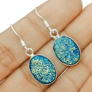 Natural Titanium Druzy 925 Sterling Silver Earrings Jewelry, CT34-6