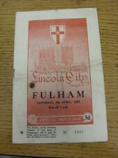 09/04/1955 Lincoln City v Fulham  (Folded, creased, team changes, Cigarette/burn