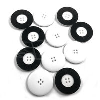 PACK OF 10, 34mm WHITE PLASTIC BUTTON BUTTONS BLACK BORDER 4 HOLE BTN (27292-54)