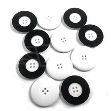 Confezione da 10, 34mm PLASTICA BIANCA pulsanti pulsante bordo nero 4 fori create la vostra community (27292-54)