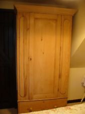 Victorian Stripped Pine Wardrobe with Large Base Drawer, Lock & Key 3' wide