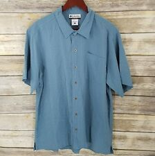 Columbia Size L Camp Shirt Blue Green Windowpane Plaid Button Front Mens Outdoor