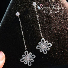 18K White Gold Plated AAA Grade CZ Stunning Vintage Flower Drop Earrings