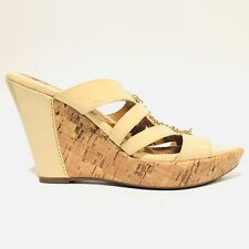 Sofft Carl 10 Wedge Beige Strappy Cork Chain Open Toe Sandals Shoes Women SZ 7 M