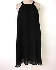 ASTR dress womens S black sleeveless pleated high neck keyhole trapeze shift NWT