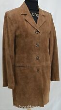 Dennis Basso suede jacket Tan knee coat car Trench Leather Button XS VTG 80s NEW