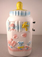 Vintage Relpo Baby Bottle Music Box Nursery Decoration Rock A Bye Baby RaRe 6762