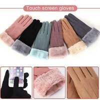 Women Winter Warm Mittens Driving Suede Thermal Velvet Thick Touch Screen Gloves
