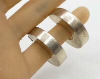 NF 925 Sterling Silver - Vintage Thick Square Post Stud J-Hoop Earrings - E2494