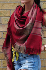 Rust Red Oversized Blanket Scarf Shawl Wrap Scarf Check Scarf Gift for Women