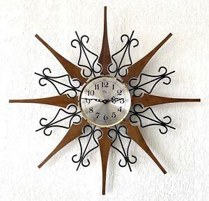 VTG Starburst Wall Clock Welby Teak Black Iron Gold Elgin Battery MCM Works EUC
