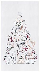 Puppy Dogs Stacked Up in Holiday Tree Shape Flour Sack Kitchen Dish Towel