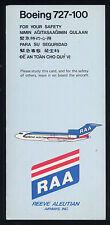 Reeve Aleutian Airways RAA Boeing 727 100  SAFETY CARD airline brochure ee e120