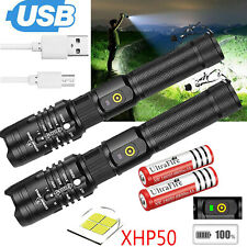 XHP50 USB Flashlight Zoomable 990000Lumens Rechargeable Torch Super Bright Light