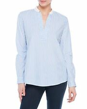 PREMISE STUDIO Striped Long Sleeve White Blue Cotton Top Blouse Size L. $ 48 NWT
