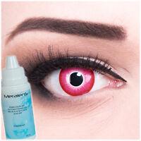 Farbige Fun Crazy Kontaktlinsen funny pink Emine Halloween Fasching + Behälter