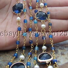 H042801 54'' White Pearl Agate Crystal Necklace