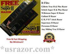 Schick Super II Razor 4 Adjustable Cartridges Fits Gillette Trac 2 Shaver Blades
