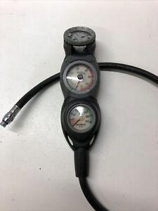 Suunto In Line Triple Console Pressure Gauge Compass Depth Diving Equipment